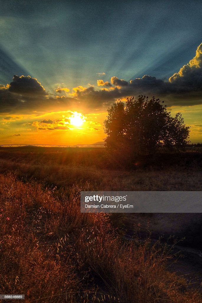 Scenic View Of Landscape During Sunset : Stock Photo