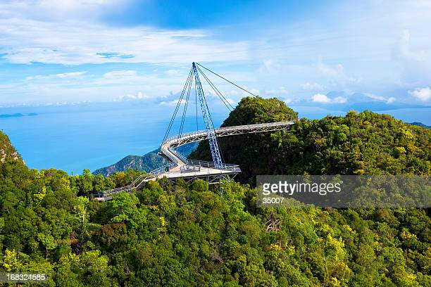 a scenic view of langkawi sky bridge - catwalk stock pictures, royalty-free photos & images