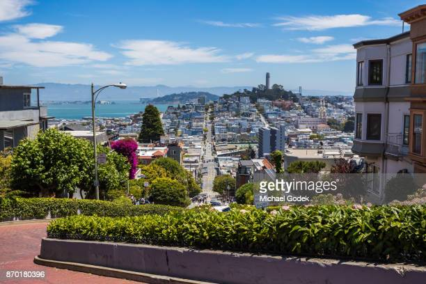 Scenic view of Lombard St in San Fransisco
