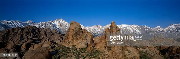 scenic view of lone pine peak framed by alabama hills. lone pine peak, alabama hills, bureau of land management, california. - alabama hills stock photos and pictures