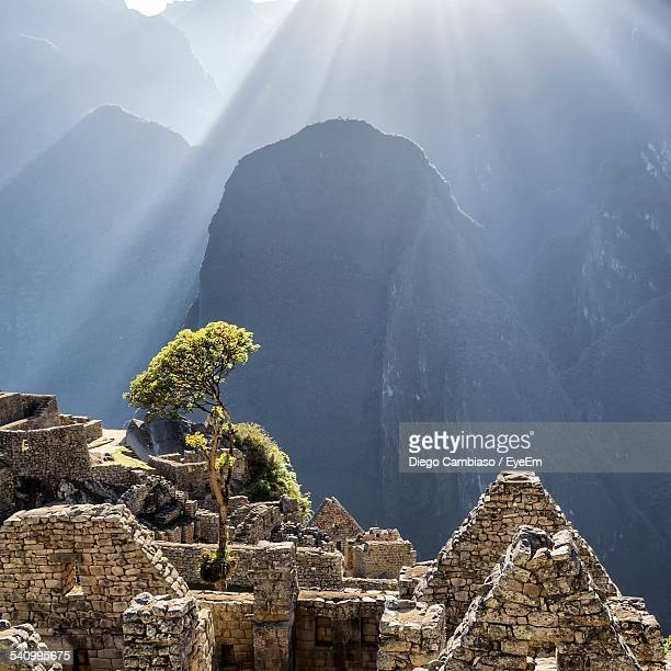 scenic view of machu picchu - machu picchu stock photos and pictures