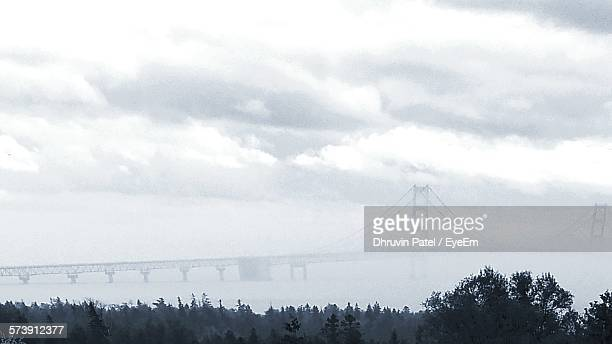 Scenic View Of Mackinac Bridge In Foggy Weather