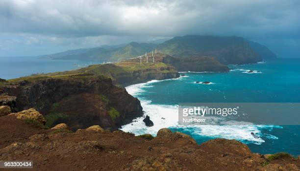 A scenic view of Madeira Island costline from Ponta do Rosto viewpoint On Tuesday April 24 in Santa Cruz Madeira Island Portugal