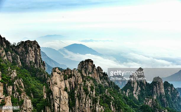scenic view of majestic mountain rage with copy space - lotus flower peak stock pictures, royalty-free photos & images