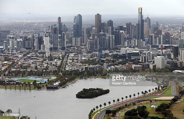 A scenic view of Melbourne during qualifying for the Australian Formula One Grand Prix at Albert Park on March 19 2016 in Melbourne Australia
