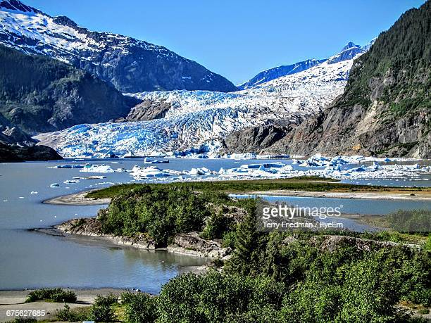 Scenic View Of Mendenhall Glacier Against Clear Sky