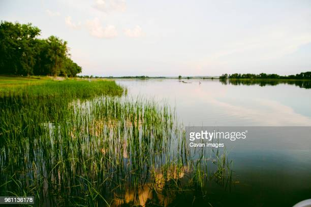 Scenic view of Missouri River against sky