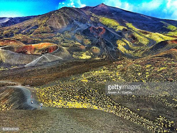 scenic view of mount etna against sky - mt etna stock pictures, royalty-free photos & images