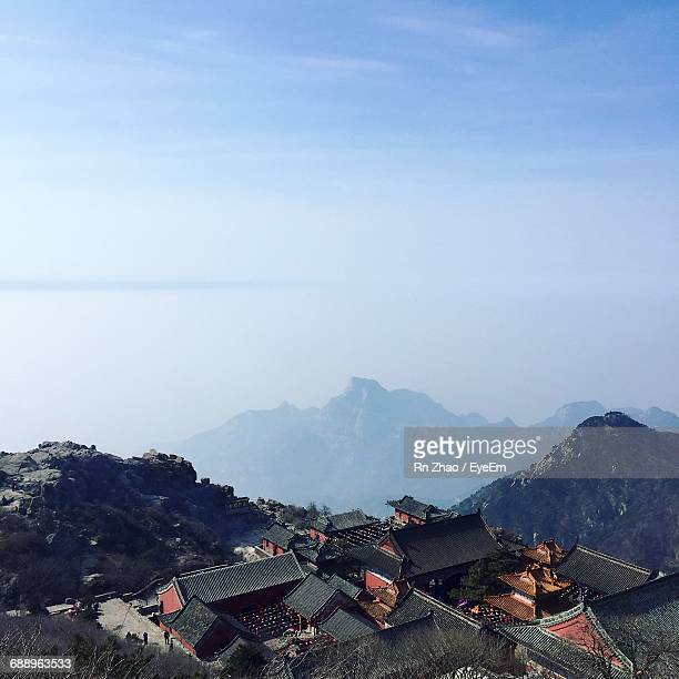 scenic view of mount tai against sky - shandong province stock pictures, royalty-free photos & images