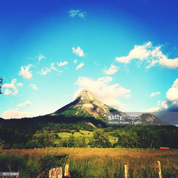 Scenic View Of Mountain Against Blue Sky At Navarra