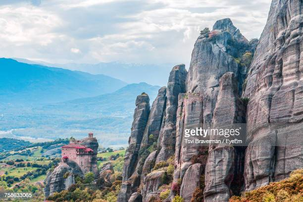 scenic view of mountain against cloudy sky - thessaly stock pictures, royalty-free photos & images