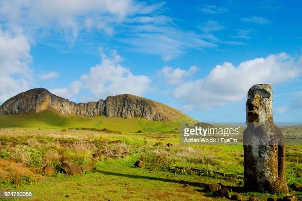 scenic view of mountain against cloudy sky - easter island stock pictures, royalty-free photos & images
