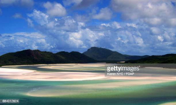 scenic view of mountain in whitsunday island - whitehaven beach stock photos and pictures