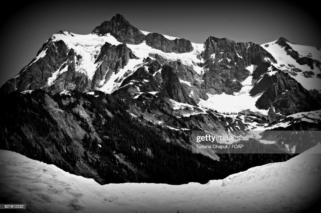 Scenic view of mountain in winter : Stock Photo