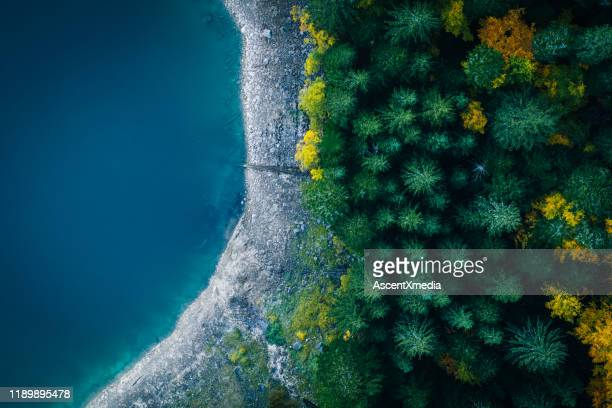 scenic view of mountain landscape and lake from aerial perspective - abundance stock pictures, royalty-free photos & images