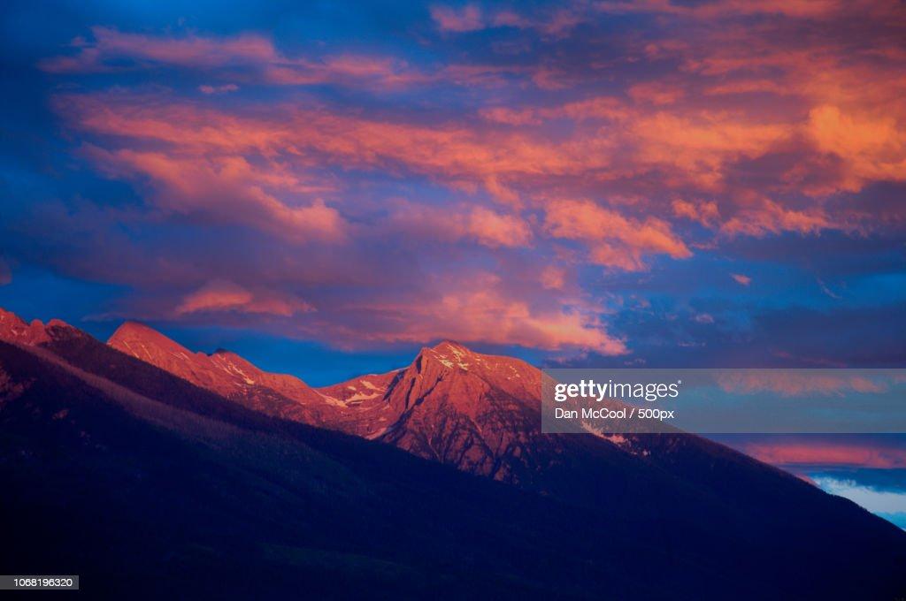 Scenic view of mountain peak at sunset : Stock Photo