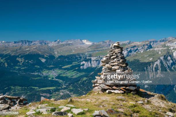 scenic view of mountain range against clear sky - colman stock photos and pictures
