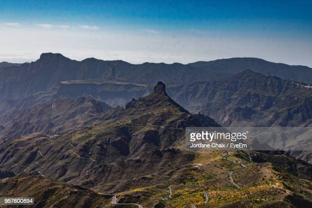 scenic view of mountain range against sky - tejeda canary islands stock pictures, royalty-free photos & images