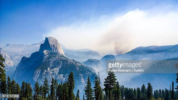 Scenic View Of Mountain Range At Yosemite National Park Against Sky