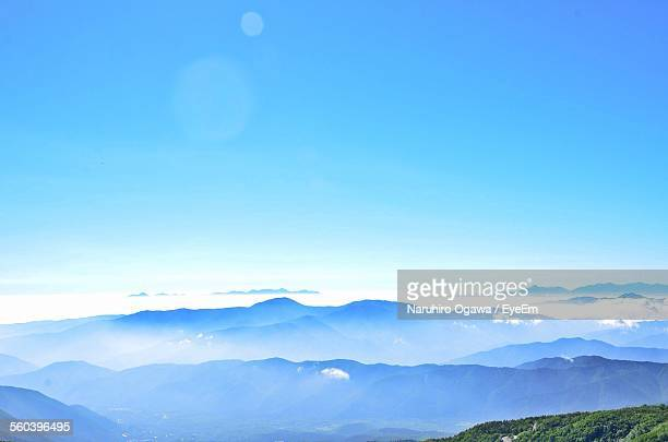 scenic view of mountains against blue sky - takayama city stock pictures, royalty-free photos & images