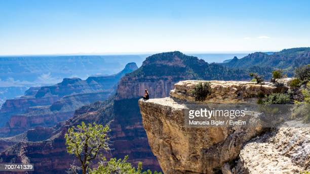 scenic view of mountains against blue sky - category:grand_canyon_national_park stock pictures, royalty-free photos & images