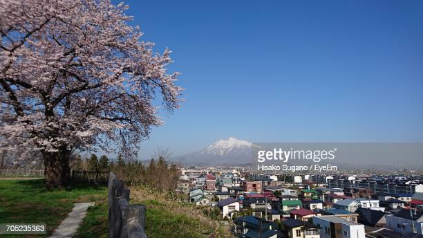 scenic view of mountains against blue sky - hirosaki stock pictures, royalty-free photos & images