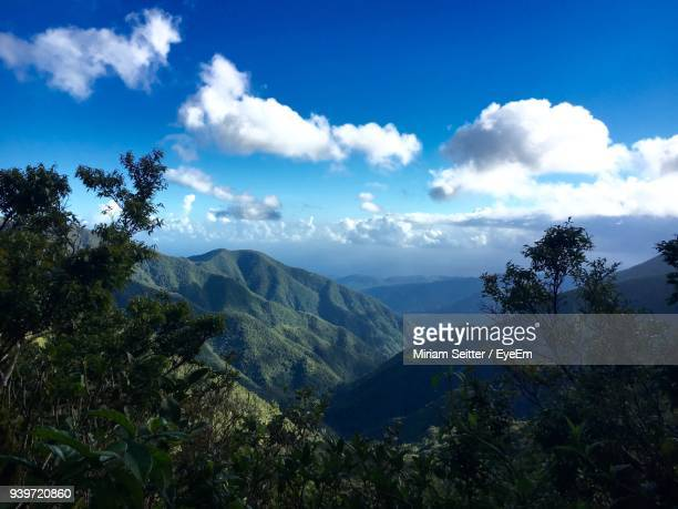 scenic view of mountains against blue sky - jamaica stock pictures, royalty-free photos & images