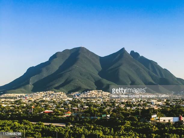 scenic view of mountains against clear blue sky - nuevo leon stock pictures, royalty-free photos & images