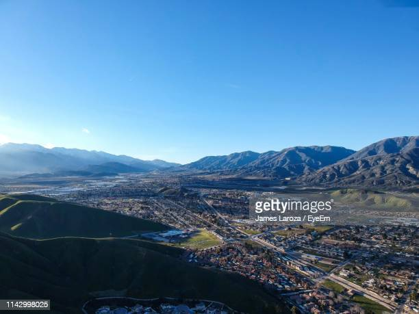 scenic view of mountains against clear blue sky - サンバーナーディーノ市 ストックフォトと画像