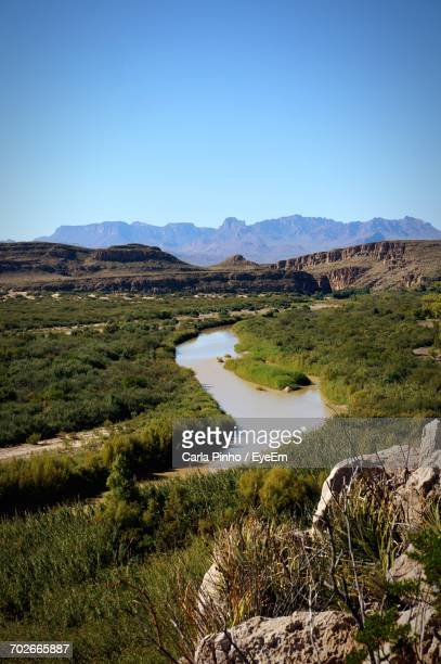 scenic view of mountains against clear blue sky - big bend national park stock pictures, royalty-free photos & images