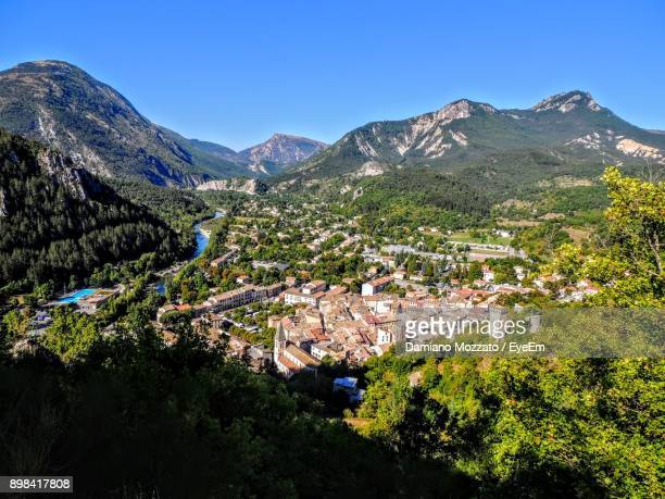 scenic view of mountains against clear blue sky - alpes de haute provence stock pictures, royalty-free photos & images