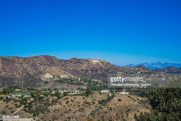 scenic view of mountains against clear blue sky - hollywood california stock pictures, royalty-free photos & images