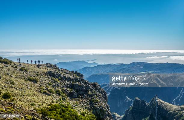 scenic view of mountains against clear blue sky - madeira island stock photos and pictures