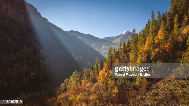 scenic view of mountains against clear sky during autumn - embrun stock pictures, royalty-free photos & images