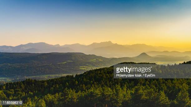 scenic view of mountains against clear sky during sunset - クラーゲンフルト ストックフォトと画像