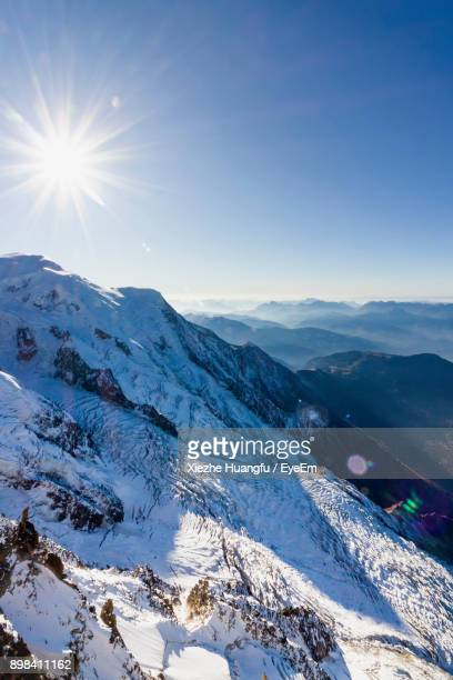 scenic view of mountains against clear sky during winter - aiguille de midi stock photos and pictures