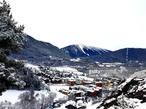 scenic view of mountains against clear sky during winter - andorra stock pictures, royalty-free photos & images