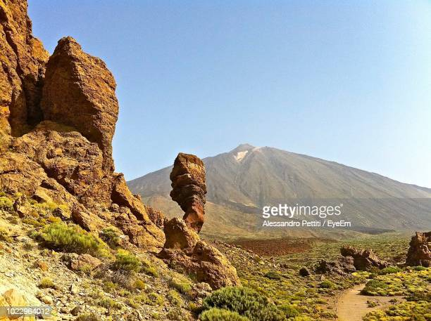 scenic view of mountains against clear sky - el teide national park stock pictures, royalty-free photos & images