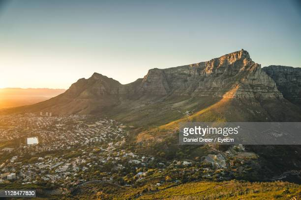scenic view of mountains against clear sky - table mountain stock pictures, royalty-free photos & images