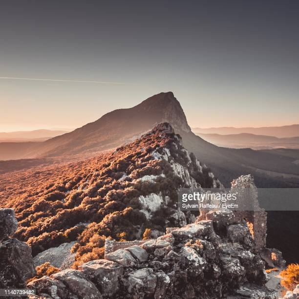 scenic view of mountains against clear sky - languedoc rousillon stock pictures, royalty-free photos & images