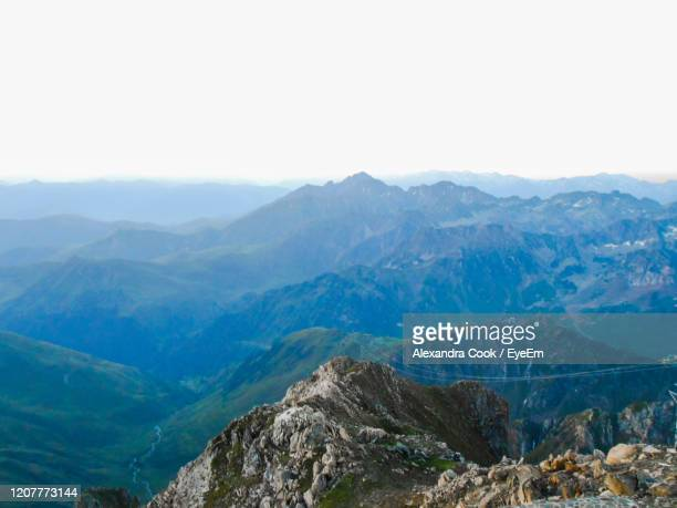 scenic view of mountains against clear sky - bagneres de bigorre stock pictures, royalty-free photos & images