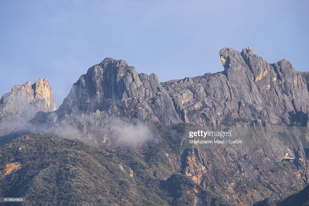 Scenic View Of Mountains Against Clear Sky : Stock Photo
