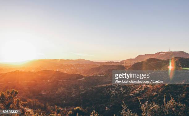 scenic view of mountains against clear sky - hollywood hills stock pictures, royalty-free photos & images