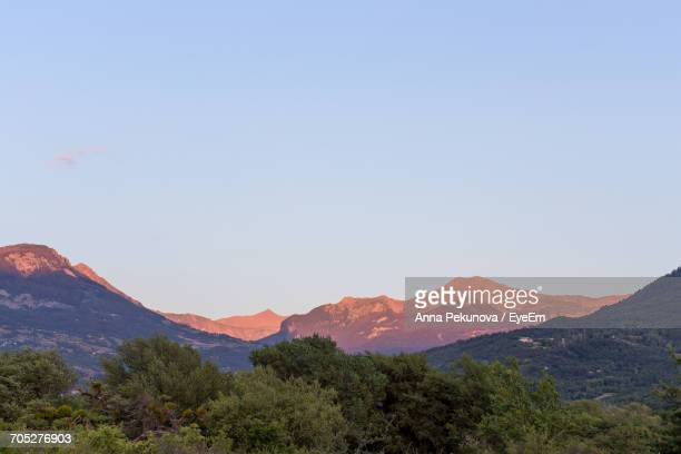 scenic view of mountains against clear sky - embrun stock photos and pictures
