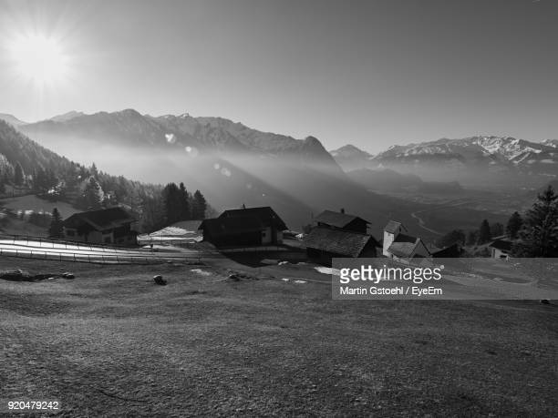 scenic view of mountains against clear sky - principality of liechtenstein stock pictures, royalty-free photos & images