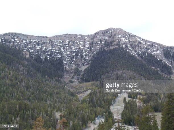 scenic view of mountains against clear sky - mt charleston stock photos and pictures