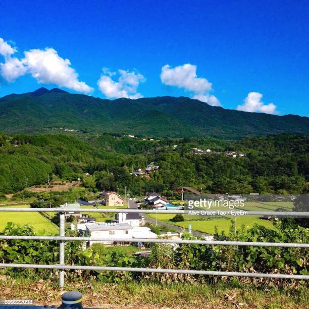 scenic view of mountains against cloudy sky - 瑞浪市 ストックフォトと画像