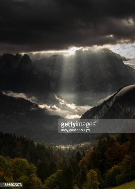 scenic view of mountains against cloudy sky,unken,austria - andy dauer stock pictures, royalty-free photos & images
