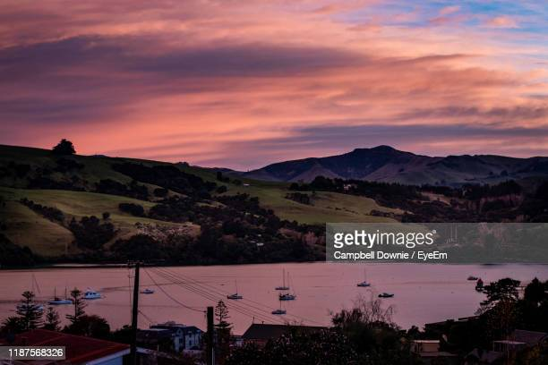 scenic view of mountains against sky at sunset - campbell downie stock pictures, royalty-free photos & images
