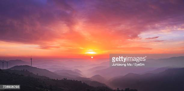 scenic view of mountains against sky at sunset - jeonju stock pictures, royalty-free photos & images